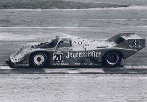 Gerhard Berger im Jägermeister-Brun-Porsche 956.106 beim 1.000-Kilometer-Rennen auf dem Hockenheimring im Juli 1985